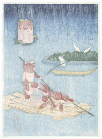 Riding a Raft by Kuniyoshi (1797 - 1861)