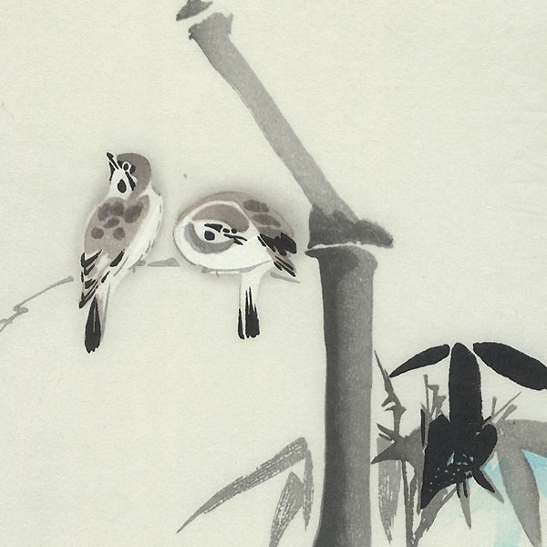 Sparrows and Bamboo by Shin-hanga & Modern artist (not read)