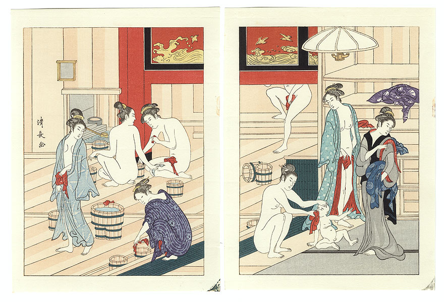Women at a Bathhouse by Kiyonaga (1752 - 1815)