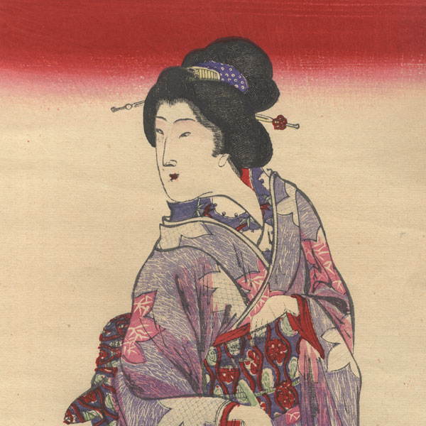 Beauty with Iris Blossoms by Meiji era artist (unsigned)