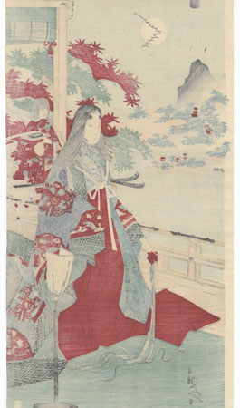 Heian-era Beauty Viewing Maples by Meiji era artist (unsigned)