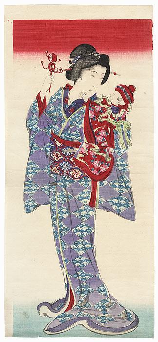 Beauty Holding a Baby by Meiji era artist (unsigned)