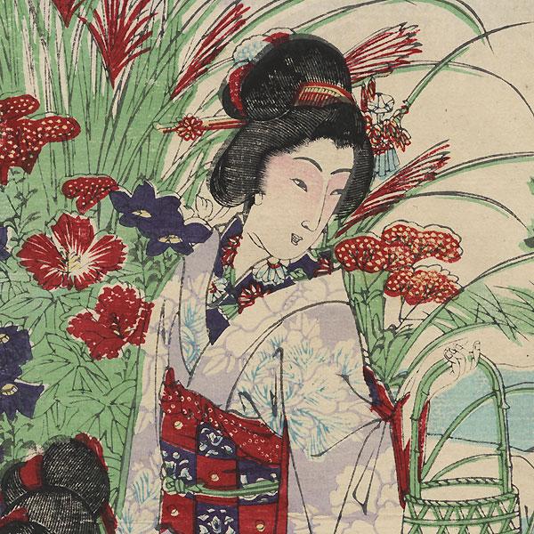 In a Moonlit Garden by Nobukazu (1874 - 1944)