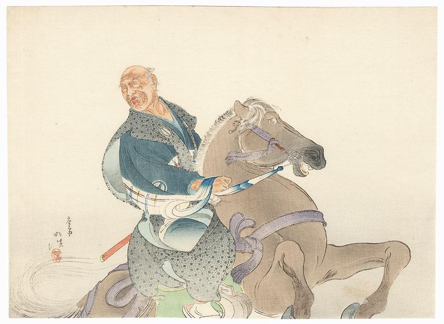 Elderly Man on a Rearing Horse Kuchi-e Print by Hamada Josen (1875 - ?)