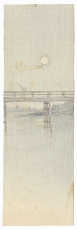 Crossing a Bridge by Moonlight Tanzaku Print by Shin-hanga & Modern artist (unsigned)