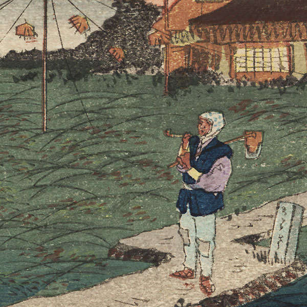 Farmer and Scarecrow with View of Mt. Fuji by Meiji era artist (unsigned)