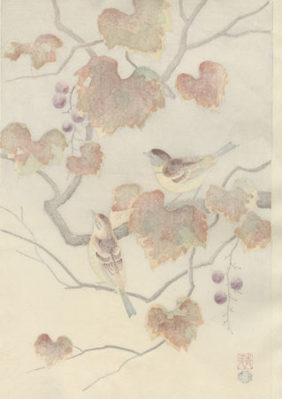 Finch and Grapes by Shizuo Ashikaga (1917 - 1991)