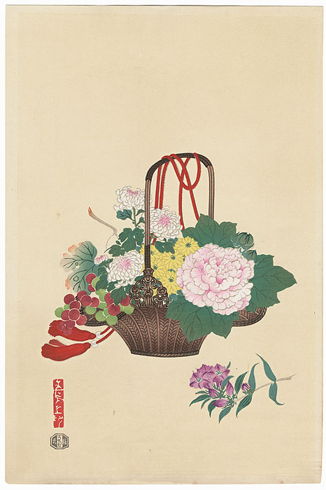 Basket of Flowers by Kin-u Takeshita (active circa 1930s - 1950s)