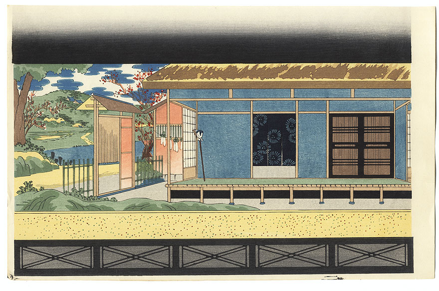 Bunraku Puppet Stage Setting for Osome Hisamatsu by Konobu (1914 - 1999)