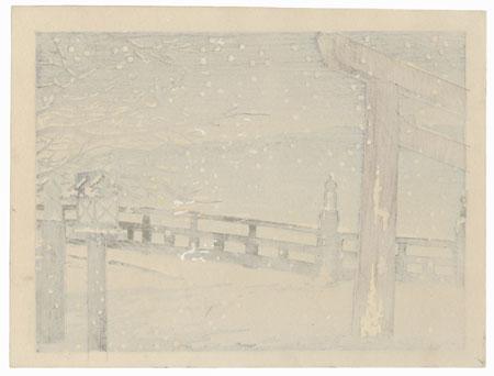 Bridge in Snow by Tokuriki (1902 - 1999)
