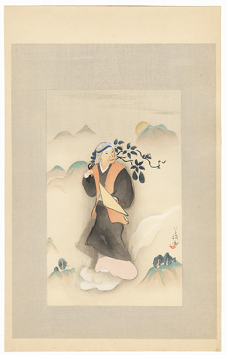 An Old Woman on the Clouds by Ogawa Usen (1868 - 1938)