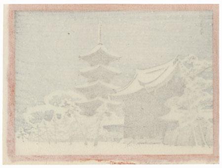 Temple in Winter by Shin-hanga & Modern artist (unsigned)