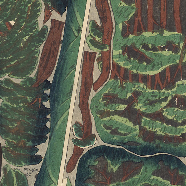 Forest and River Paper Model Print by Meiji era artist (unsigned)