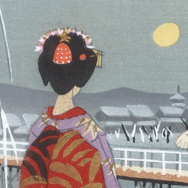 Maiko on a Moonlit Night by Shin-hanga & Modern artist (not read)
