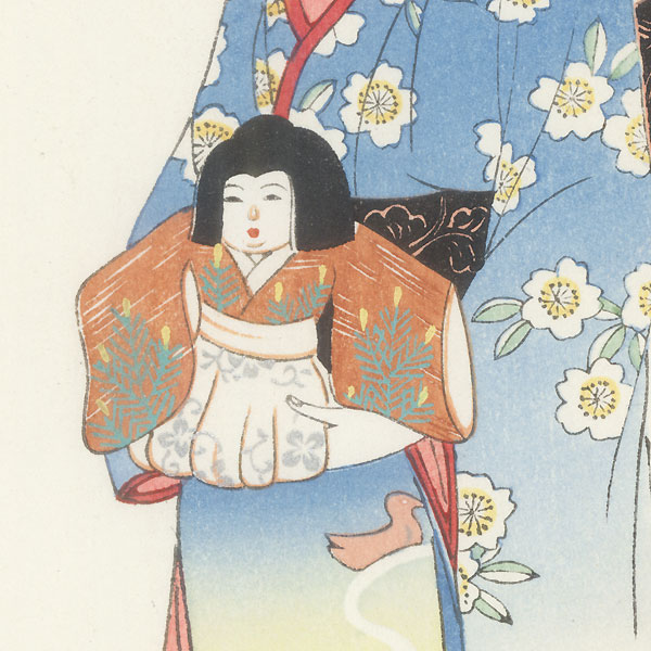 Girl with a Doll Tanzaku by Soken (1759 - 1818)