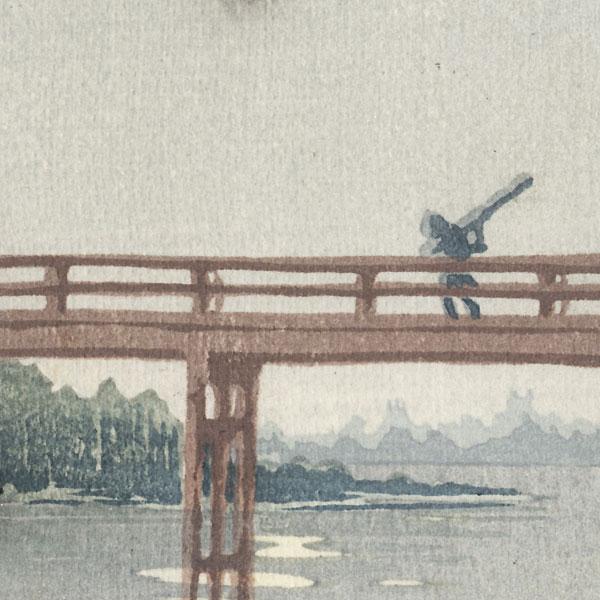 Crossing a Bridge by Moonlight Tanzaku Print by Shin-hanga & Modern artist (unsigned)