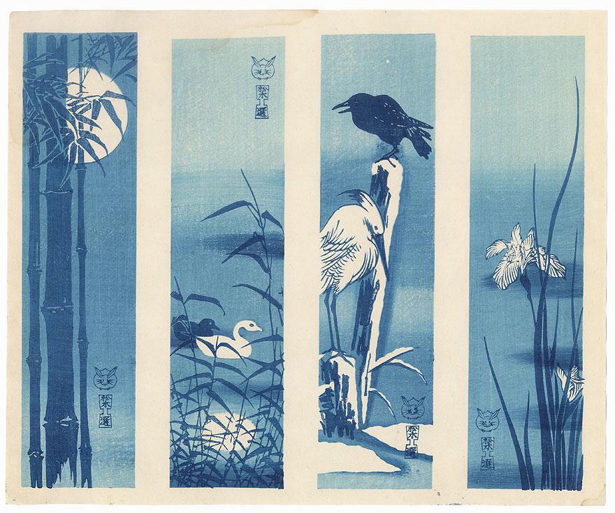 Aizuri-e Tanzaku Prints  by Shin-hanga & Modern artist (not read)