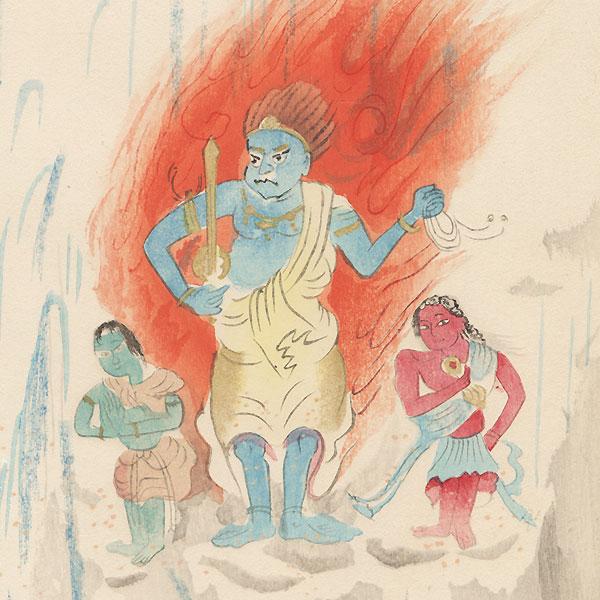 The Deity Fudo and the Priest Mongaku by Tomita Keisen (1879 - 1936)