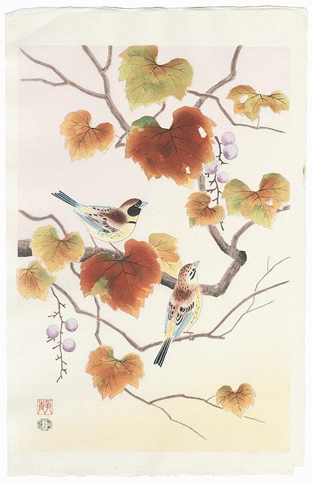 Finch and Grapes by Shizuo Ashikaga (1917 - 1991)