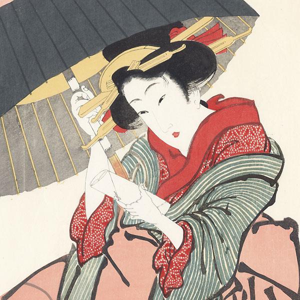 Beauty in the Rain by Eizan (1787 - 1867)