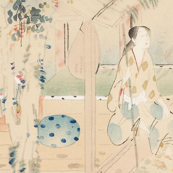 Woman and Lute by Suga Tatehiko (1878 - 1963)