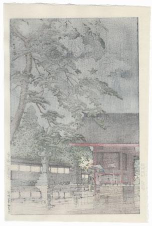 Spring Rain at Gokoku Temple, 1932 by Hasui (1883 - 1957)
