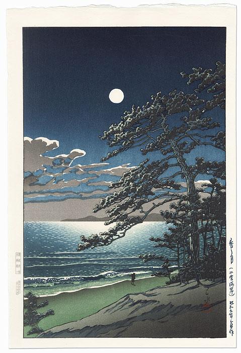Spring Moon at Ninomiya Beach, 1932 by Hasui (1883 - 1957)