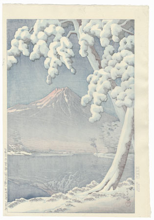 Clearing after a Snowfall on Mt. Fuji (Tagonura Beach), 1932 by Hasui (1883 - 1957)