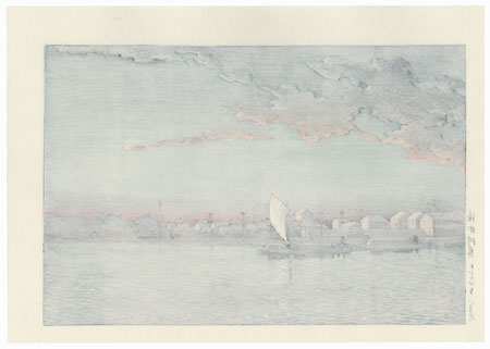 Hama-cho River-bank, 1925 by Hasui (1883 - 1957)