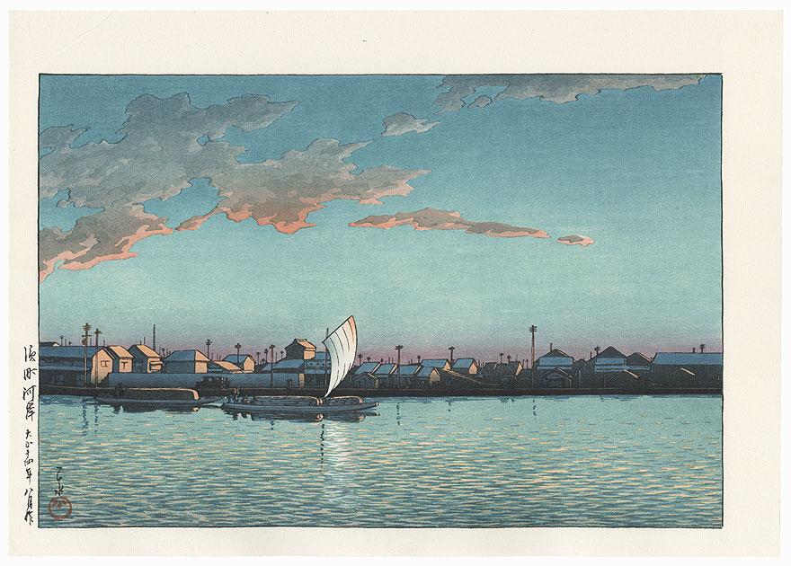 Hama-cho River Bank (Hamachogashi), 1925 by Hasui (1883 - 1957)
