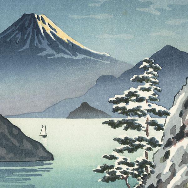 Fuji from Mitsuhama (Mito) in Snow, 1936 by Tsuchiya Koitsu (1870 - 1949)