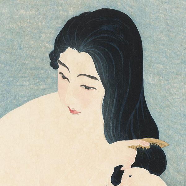 Nude Combing Hair by Torii Kotondo (1900 - 1976)