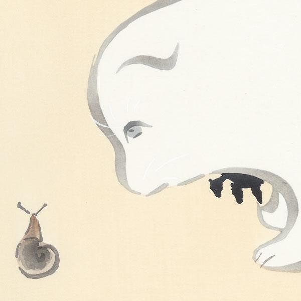 Puppies and Snail by Kamisaka Sekka (1866 - 1942)