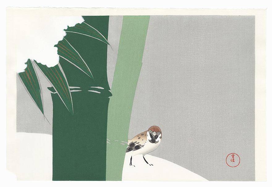 Sparrow in Snow by Kamisaka Sekka (1866 - 1942)
