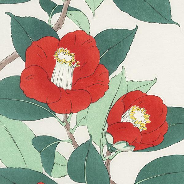 Red Camellias by Kawarazaki Shodo (1889 - 1973)