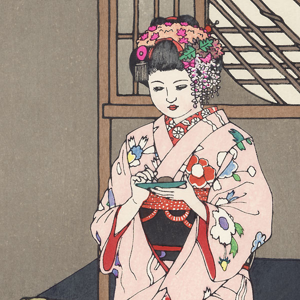 In a Kyoto Sweets Shop, 1951 by Toshi Yoshida (1911 - 1995)