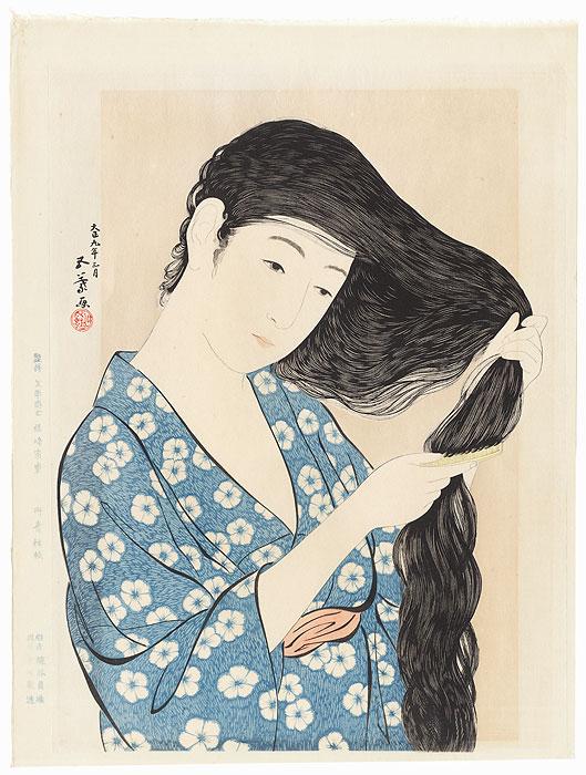 Beauty Combing her Hair, 1920 by Hashiguchi Goyo (1880 - 1921)