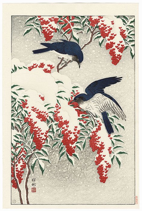 Flycatchers in Snow, 1929 by Ohara Koson (Shoson) (1877 - 1945)