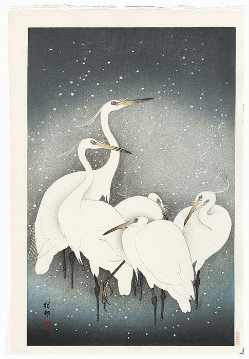 White Herons in Falling Snow, 1927 by Ohara Koson (Shoson) (1877 - 1945)