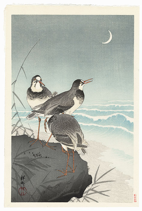 Plovers and Waves by Ohara Koson (Shoson) (1877 - 1945)