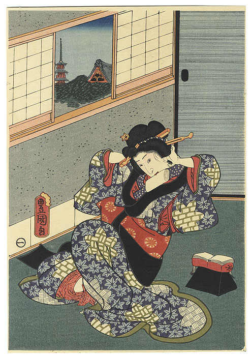 Beauty Adjusting her Hair by Toyokuni III/Kunisada (1786 - 1864)