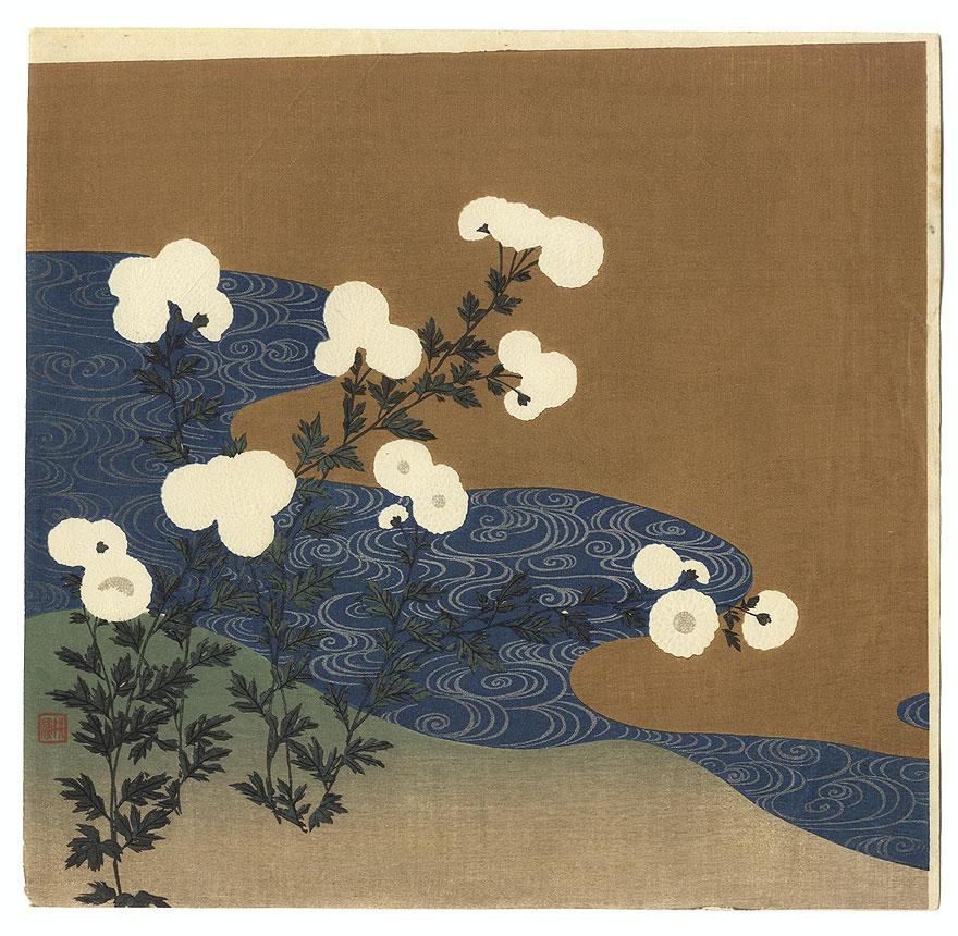 Chrysanthemums along a Stream by Tsukioka Kogyo (1869 - 1927)