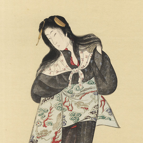 Washed Hair by Kunihisa II (1832 - 1891)