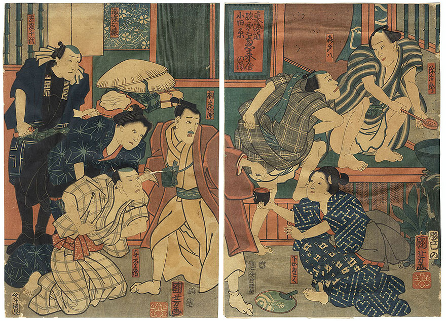 Fuji Arts Overstock Diptych - Exceptional Bargain! by Kuniyoshi (1797 - 1861)