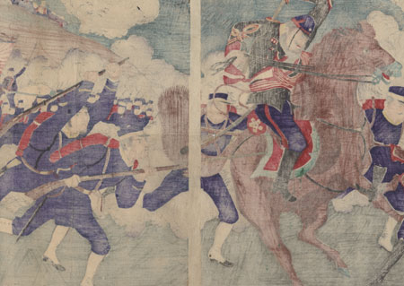 Fuji Arts Overstock Diptych - Exceptional Bargain! by Meiji era artist (unsigned)