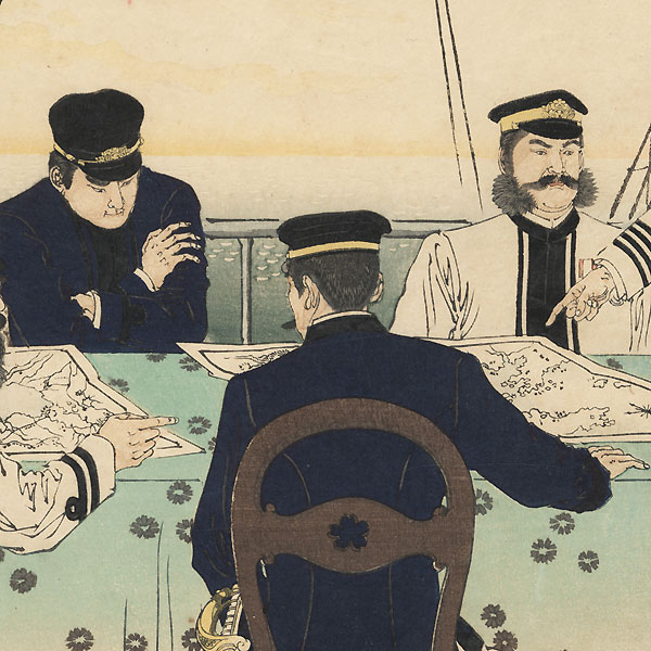 Naval Officers Discussing the Battle Strategy for the Invasion of China, 1894 by Toshikata (1866 - 1908)
