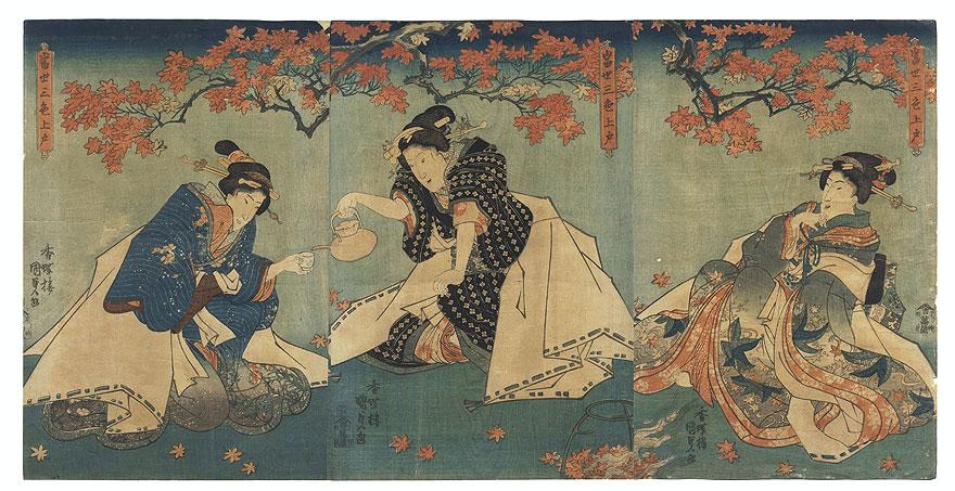 Fuji Arts Overstock Triptych - Exceptional Bargain! by Toyokuni III/Kunisada (1786 - 1864)