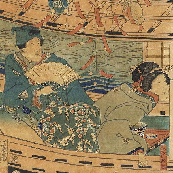 Fuji Arts Overstock Triptych - Exceptional Bargain! by Yoshiiku (1833 - 1904)