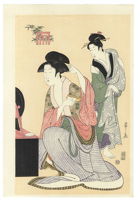 Beauty Combing Her Hair by Utamaro (1750 - 1806)