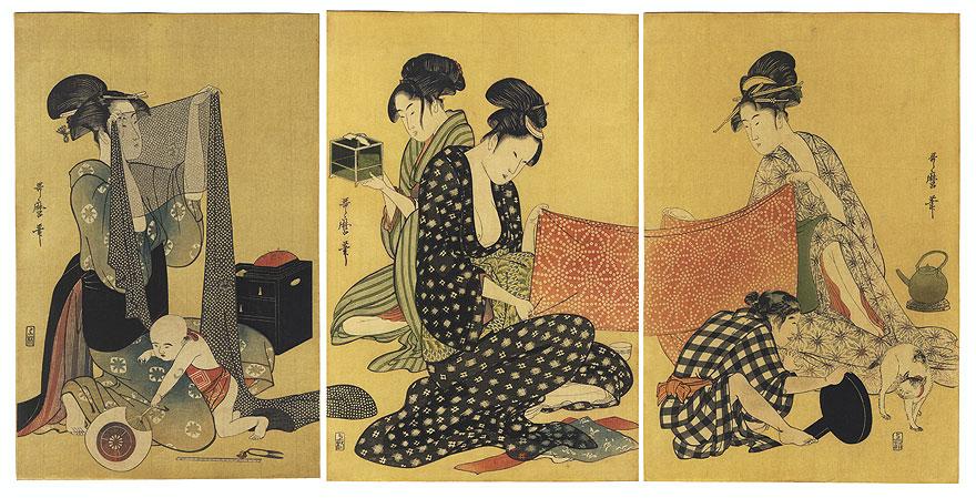 Needlework by Utamaro (1750 - 1806)
